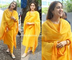 Sara Ali Khan in a yellow salwar suit Sara Ali Khan attended Diwali Puja at Karan Johar's office wearing a simple yellow cotton salwar suit paired with matching bangles and gold juttis. She looked nice! Pakistani Fashion Casual, Indian Fashion Dresses, Dress Indian Style, India Fashion, Simple Kurti Designs, Kurta Designs Women, Salwar Designs, Bollywood Outfits, Bollywood Fashion