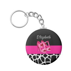 A stylish pink and black animal print keychain with a graphic black and white giraffe pattern and a pair of girly pink pumps. Personalize this cute fashion design by adding the name of any teen girly girl.