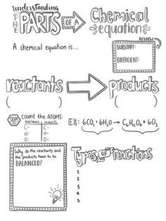 This fun Sketch Notes is an excellent addition to your interactive science notebook! The fun layout allows students to organize important information about the parts of a chemical equation while incorporating creativity into the classroom. As the teacher, Chemistry Classroom, High School Chemistry, Teaching Chemistry, Science Chemistry, Middle School Science, Physical Science, Science Education, Biology Teacher, Ap Biology
