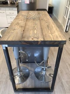 Most Popular Ideas For Kitchen Table Makeover Gray Kitchen Counter Diy, Industrial Kitchen Island, Rustic Kitchen Tables, Kitchen Cabinets And Countertops, Kitchen Table Makeover, Diy Kitchen Storage, Wooden Kitchen, Kitchen Decor, Island Kitchen