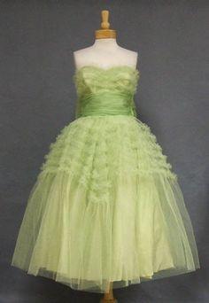Vintageous, LLC - Wonderful Sea Green Ruffled Tulle