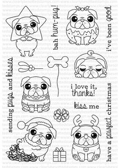 Bah Hum-Pug set from Clearly Besotted Stamps #pugdrawing