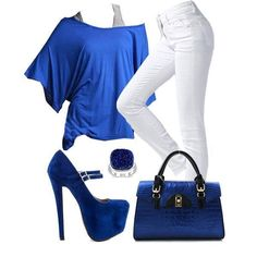 Flowy blue and right white outfit.