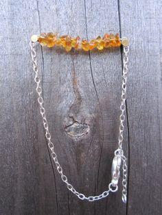 Amber Stone Silver Adjustable Bracelet by hardlyExpected on Etsy