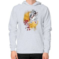 Red and wolf Hoodie (on man)