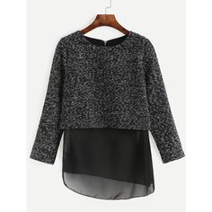 SheIn(sheinside) Black Mesh Insert Asymmetric Zipper Blouse (30 BAM) ❤ liked on Polyvore featuring tops, blouses, sleeve blouse, zip top, embellished collar blouse, mesh inset top and embellished tops