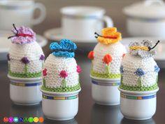 Die perfekten Eierwärmer für den Frühling - Häkelanleitung via Makerist.de