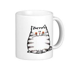 Shop Fuzzy cat coffee mug created by jsoh. Cat Coffee Mug, Cat Mug, Coffee Cups, Blue Pottery, Pottery Mugs, Mug Drawing, Create Your Own Mug, Wedding Mugs, Cool Mugs