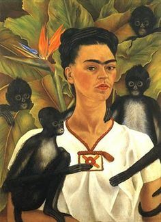 Frida's Dog Monkeys & Birds article. Self Portrait with Monkeys by Frida Kahlo, 1943