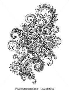 Vector hand drawn ornate flower pattern in zentangle style. Black and white graphic doodle illustration - stock vector