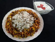 Adas polow - persian lentil rice with beef and raisins