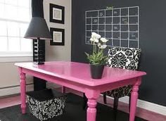 Potentially bright red table...chalkboard or dark grey accent wall