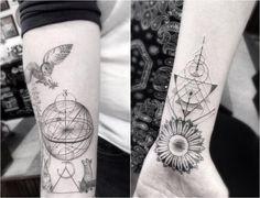 geometrische Tattoos an der Arm Innenseite