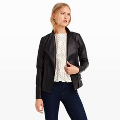 With an intimate understanding of fine leathers, the iconic Mackage label produces exquisite wares with a downtown feel. This newest rendition of the moto jacket is cut short and rendered in incredibly supple lambskin that's finished with precise tailoring. The Cleo also features an asymmetrical front zip closure, ribbed insets at the sleeves, and a spread lapel collar. Shell: lambskin; lining: polyester  Cropped, tailored fit Spread lapel c