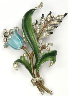 Trifari 'Alfred Philippe' Pave and Enamel Flowering Blue Lily Pin Clip
