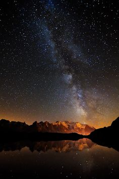 etherealvistas:  Milky way - Lac des Cheserys by Marco Barone