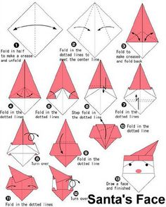 Santa Origami!  Wonder of you could do this with a napkin?