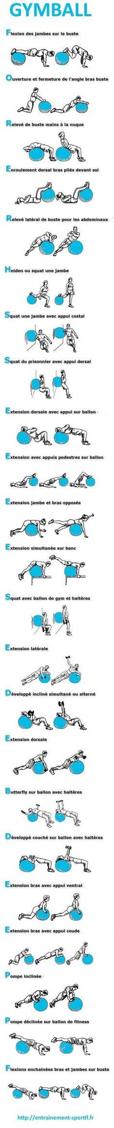 23 exercices de musculation avec ballon de gym http://entrainement-sportif.fr/ballon-gym-exercices.htm