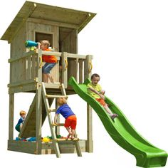 Blue Rabbit play tower BEACH HAT with slide + ramp with rope playhouse Backyard Fort, Backyard Playground, Kids Yard, Play Yard, Color Verde Claro, Kids Outdoor Play, Wooden Crafts, Play Houses, Kids Playing