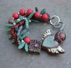 Funky Jewelry, Gypsy Jewelry, Copper Jewelry, Clay Jewelry, Jewelry Art, Beaded Jewelry, Jewelry Design, Fashion Bracelets, Jewelry Bracelets