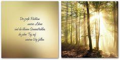 Motiv: Wald / Lyric: »Der große Reichtum unseres Lebens sind die kleinen Sonnenstrahlen die jeden Tag auf unseren Weg fallen.« Leinwandbild-Set zur individuellen Wohnraumgestaltung. Setzt lebendige, harmonische Akzente und ist ein besonderer Blickfang für Ihre Wand. Hochwertige Leinwandbilder, bespannt auf Keilrahmen. 2-teiliges Set, bestehend aus dem Text (60/60 cm) und dem Motiv (60/60 cm). I...