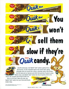 Nestle Quik in bar form – Drink up some chocolaty goodness. Vintage Advertisements, Vintage Ads, Vintage Food, 1990s Candy, Chocolate Milk Mix, Nesquick, Brand Icon, Food Advertising, 80s Kids