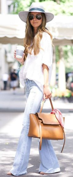 incredible spring outfit / white hat + brown bag + wide jeans