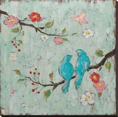 Stretched Canvas Print: Love Birds I by Katy Frances : 30x30in