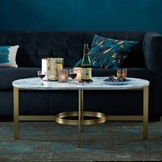 Furniture : Marble Brass Round Coffee Table Black Sofa Blue Wall Color Pillow White Splash Blue Pillow Basic Types Of Living Room Table End Table. Living Room End Table. Sofa Table.