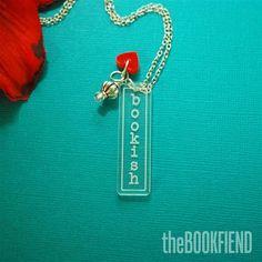 bookish acrylic necklace