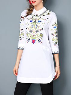 #AdoreWe StyleWe Tunics - DDER Floral-embroidered 3/4 Sleeve Vintage H-line Tunics - AdoreWe.com