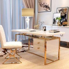Computer Desk With Shelves, Desk With Drawers, Office Interior Design, Office Interiors, Medical Office Design, White Writing Desk, Modern Desk, Home Office Desks, Sunroom Office