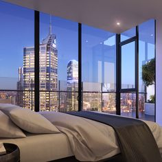 The view from the floor contemporary 3 bedroom penthouse. City View Apartment, Melbourne Apartment, Dream Apartment, Penthouse Apartment, New York Penthouse, Luxury Penthouse, Luxury Apartments, New York Bedroom, City Bedroom