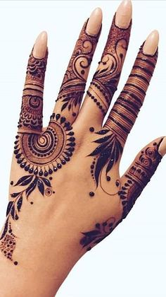 Full Mehndi Designs, Finger Henna Designs, Simple Arabic Mehndi Designs, Mehndi Design Photos, Wedding Mehndi Designs, Mehndi Designs For Fingers, Mehndi Images, Mehandi Henna, Hand Mehndi