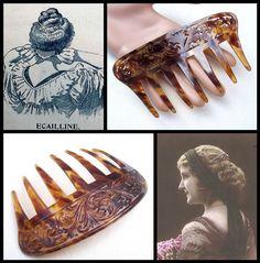 Vintage celluloid faux tortoiseshell hair comb by ElrondsEmporium
