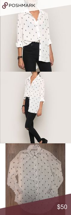 Gypsy Warrior Many Moons Blouse White  oversized button up with moon print. Size small, is oversized. Worn only twice. Gypsy Warrior Tops Blouses