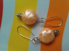 Vintage Lucite Shimmery Peach Earrings ($22) by Avocado Eggroll
