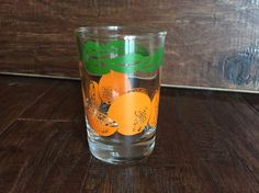 "1987 ANCHOR HOCKING ORANGE JUICE GLASS 3.5"" TALL  FREE SHIP"