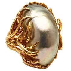 David Webb 1950s ring with mabe pearl