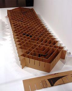 Up cycle your car board Occasional bed :) Cardboard Chair, Diy Cardboard Furniture, Cardboard Design, Paper Furniture, Cardboard Sculpture, Cardboard Crafts, Cool Furniture, Furniture Design, Cardboard Boxes