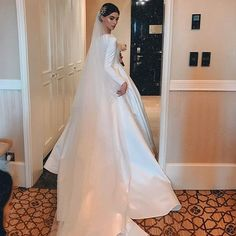 Elegant A-line Long Sleeve Simple Satin Wedding Dresses With Sleeve Western Wedding Dresses, Elegant Wedding Gowns, Princess Wedding Dresses, Perfect Wedding Dress, Dream Wedding Dresses, Bridal Dresses, Elegant Gown, Elegant Dresses, Bridesmaid Dresses