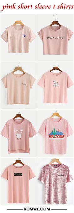 pink short sleeve t shirts
