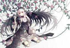 rozen maiden cuivre goth-loli gothic lolita fashion red eyes rozen maiden suigintou white hair wings wallpaper background