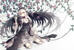 rozen maiden cuivre goth-loli gothic lolita fashion red eyes rozen maiden suigintou white hair wings wallpaper background