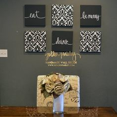 Dining Room Wall Art Set Canvas Wall Hangings Painting Large Living Room Decor E.Dining Room Wall Art Set Canvas Wall Hangings Painting Large Living Room Decor E.Home Wall Ideas Black Wall Decor, Modern Wall Decor, Dining Room Wall Decor, Room Decor, Kitchen Canvas, Samoyed, Wall Art Sets, Canvas Wall Art, Babies
