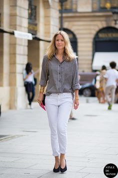 striped shirt | white jeans | heels : Jennifer Neyt | Vogue Paris