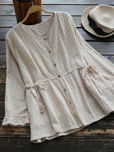 Women V-neck Long Sleeve Drawstring Vintage Blouses - ricarda Frock Fashion, Hijab Fashion, Fashion Dresses, Pakistani Fashion Casual, Iranian Women Fashion, Blouse Styles, Blouse Designs, Blouse Vintage, Facon
