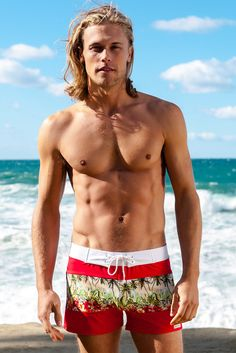 Sauvage Red Palm Splice Retro Lycra Swimmer | Designer Mens Swimmer