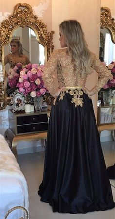 Long Sleeves Black Satin Prom Dress With Gold Appliques on Luulla