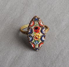 Vintage Micro Mosaic Floral Ring Italy